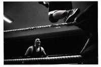 Saut de la troisième corde lors d'un match de la B.C.W.F. (Belgian Catch Wrestling Federation) à Obourg, Belgique.